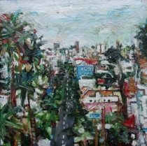 """<u>""""Jersey St. and Dolores St.""""  12 x 12""""  Oil on Wooden Box 2000</u><b>$1,200</b>"""