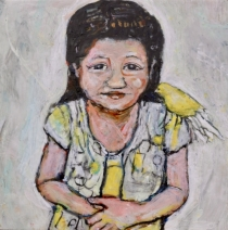 """""""Prelude to Missing Mamma #1"""" Acrylic on Wood,  10 by 10"""" $450"""