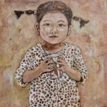 """""""Prelude to Missing Mamma #3"""" Acrylic on Wood,  10 by 10"""" $450"""