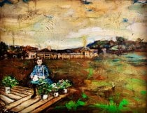 """<u>Girl with One Chicken 36 x 48"""" Oil on Canvas 1992</u><i>Sold</i>"""