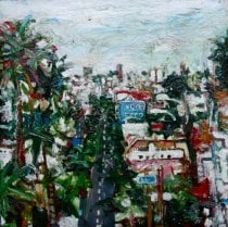 """Jersey St. at Dolores St.  9x9"""" Acrylic on Wooden Box  1997  $650"""